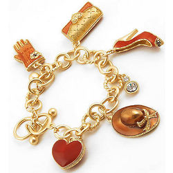 Wardrobe Theme Charm Bracelet with Crystal Dangles and Heart