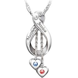 Love Never Ends Personalized Engraved Couples Pendant Necklace