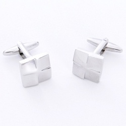 Silver Square Cufflinks with Personalized Case