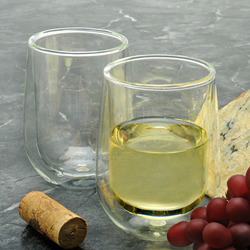 Double Wall Stemless White Wine Glass Set