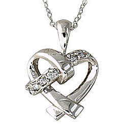 Diamond Ribbon Heart Pendant in 10k White Gold