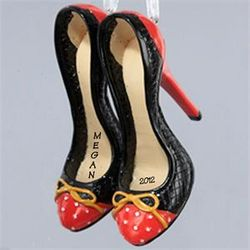 Shoe Lover Black and Red High Heels Ornament