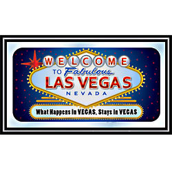Welcome to Las Vegas Wood Framed Bar Wall Mirror