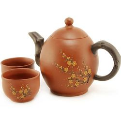 Red Oval Blossom Yixing Teapot Set