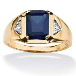 Men's Blue Sapphire And Diamond Ring