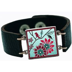 Not All Those Who Wander Leather Cuff Charm Bracelet