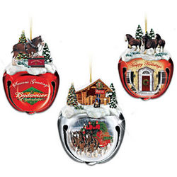 Budweiser Clydesdales Sleigh Bells Christmas Tree Ornaments