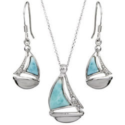 Sterling Silver Sailboat Earrings and Necklace