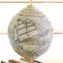 Scrimshaw Whaler's Ornament