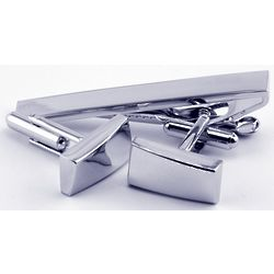 Personalized Silver Plated Cuff Links and Tie Bar
