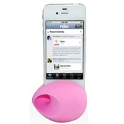 Pink iPhone Silicone Egg Amplifier and Speaker Stand