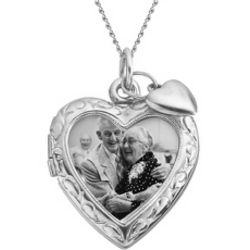 Engravable Sterling Silver Open Heart Locket with Heart Charm