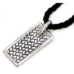 Men's Patience Sterling Silver and Leather Necklace