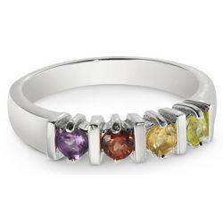 Mother's Personalized Sterling Silver 4 Birthstone Ring
