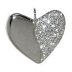 Sparkling Platinum Pav Diamond Harmony Heart Necklace