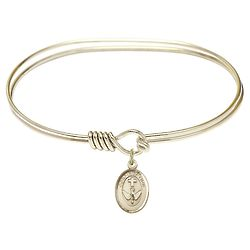 Adult's Gold-Plated Bangle with Oval Confirmation Charm