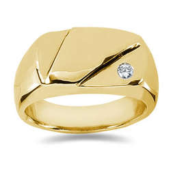 0.07 ctw Men's Diamond Ring in 18K Yellow Gold