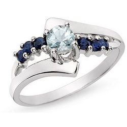 Aquamarine and Sapphire 14K White Gold Ring