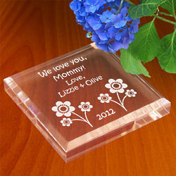 Personalized Playful Flowers Paperweight