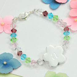 Personalized Girl Flower Charm Crystal Bracelet