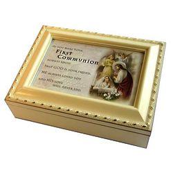 Cream First Communion Girl's Music Box
