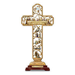 Life Of Christ Religious Cross Sculpture