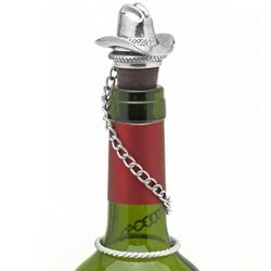 Pewter Cowboy Hat Wine Bottle Stopper