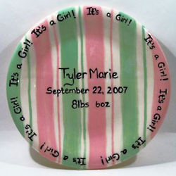 Baby Girl's Personalized Rosy Green Ribbons Plate