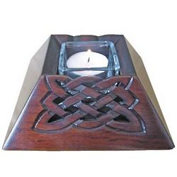 Celtic Wooden Votive Candle Holder