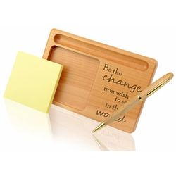 Be the Change Wooden Notepad and Pen Holder