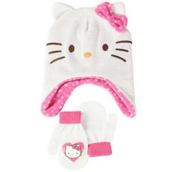 Toddler's Hello Kitty White Knit Hat and Mittens