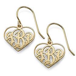 18K Gold Plating Monogram Heart Earrings