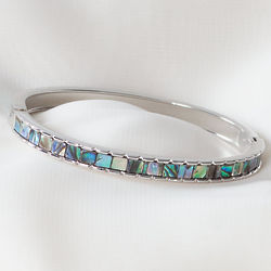 Diamond Cut Hinged Bracelet with Abalone Shell