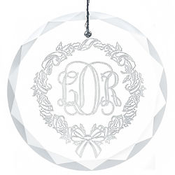 "Etched Wreath Monogram 3"" Round Faceted Glass Ornament"