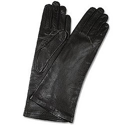 Women's Silk Lined Black Long Leather Gloves