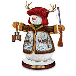 Deer Hunters Christmas Tabletop Snowman Figurine