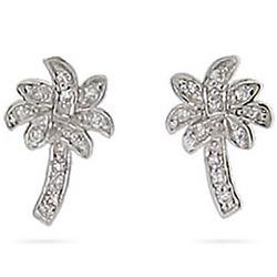 Tiffany Inspired Cubic Zirconia Palm Tree Stud Earrings