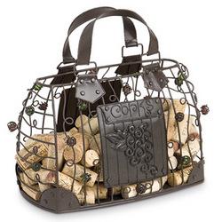 Wrought Iron Handbag Wine Cork Art Cage