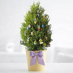 Happy Easter Cypress Tree with Ornaments