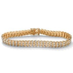 Diamond 18K Gold Plated S-Link Tennis Bracelet