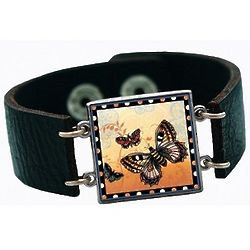 Live Life Leather Cuff Charm Bracelet