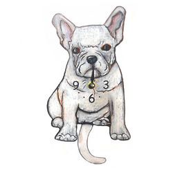 Tail-Wagging French Bulldog Pendulum Clock