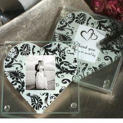 Heart Damask Pattern Photo Coasters