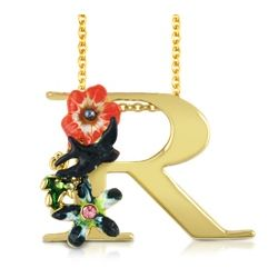 Flower and Blackbird R Charm Necklace