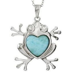 Sterling Silver Larimar and Cubic Zirconia Loving Frog Pendant