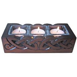 Wooden Celtic Treble Votive Holder