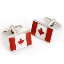 Canadian Flag Cufflinks with Personalized Case