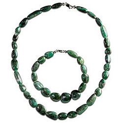 Natural Beauty Emerald Necklace and Bracelet