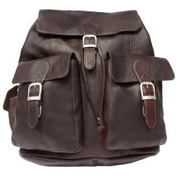 Personalized Leather Buckle-Flap Backpack