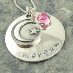 To The Moon and Back Personalized Pendant with Birthstone Dangle